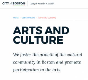 Logo from the City of Boston's Arts and Culture department